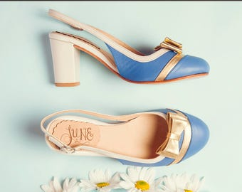 Agata Blue - Pump in blue, gold and natural leather - Handmade in Argentina - Free shipping