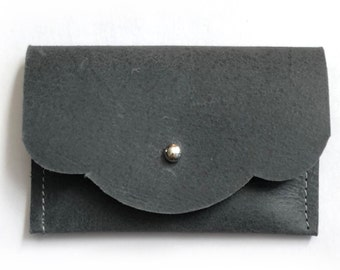 Mini Wallet card holders - 4 x 2 1/2 inches - Gray leather card case - Credit card case