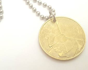 Belgian Coin Necklace with - Stainless Steel Ball Chain or Key-chain