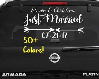 Just Married Car Window Decal Wedding Car Kit Just Married Decal Just Married Sign Wedding Car Decals Wedding Decorations Vehicle Decals
