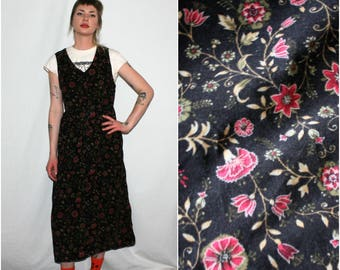 Vintage 90s Grunge Girls Dress. Sleeveless Black Floral Corduroy Womens 90s Dress. Hipster Grunge 90s Alternative Girl Black Dress
