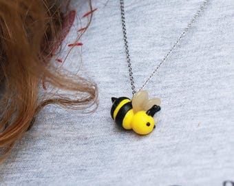 Cute Bee Necklace - Insect Jewelry - Insect Necklace, kawaii, gift, birthday gift