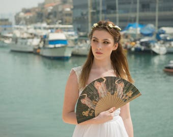 Art nouveau style FOLDING HAND FAN | women with lilies | green and gold | fashion accessories | unique gift | Free Shipping Worldwide