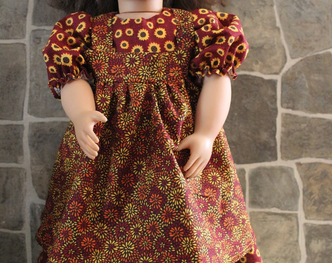 Fall Yellow Flower ,Print Dress , Small Country Flowers Pinafore ,Bronze Boots included ,Made for the 18 inch dolls Like AG FREE SHIPPING