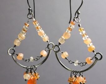 Moonstone Chandelier Earrings, Chandelier Earrings, Gemstone Earrings, Peach Earrings, Artisan Jewelry, Moonstone Earrings, Kathy Bankston