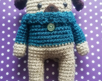 Pugdy the Pug - Crochet Pug - Amigurumi - Stuffed Animal - Cozy Critter