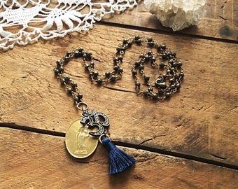 Pyrite Om Mala Necklace - prosperity necklace buddha necklace protection amulet tassel necklace