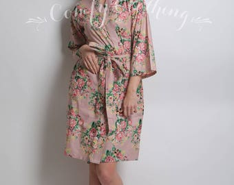 Cotton Spa Robe, Bridesmaid Robe, Fashion Dress, Floral Robe, Nursing Gown, Bridesmaid Gift, Wedding Floral Robe, Mother Of The Bride Gift