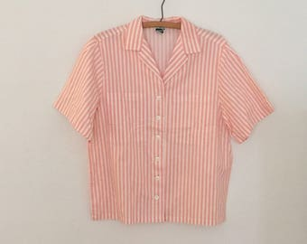 Pink and White Striped Shirt - 1980s