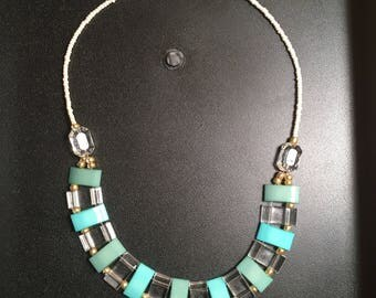 "20"" Teal Blue and Clear Beaded Necklace"