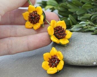 Lampwork Beads - 1 Sunflower Bead, Handmade Lampwork Beads, Glass Sunflower, Lampwork Bead, Lampwork Sunflower, Lampwork, Lampwork Flower