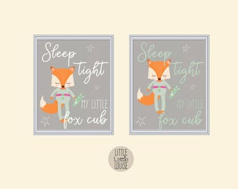 Francesca Fox – sleep tight my little fox cub, printable nursery wall art.  Perfect for a hipster, woodland nursery.