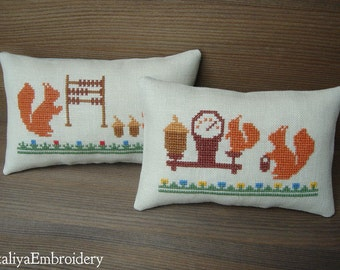 2 PDF primitive cross stitch patterns: Squirrel's Life