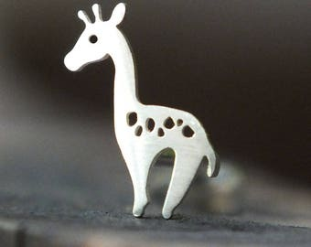 Silver Giraffe Piercing Stud - For Nose, Tragus, Conch, Helix & Labret Piercings, 18g and 16g Pushfit Backings, Nature Jewelry