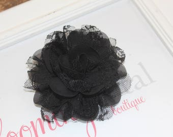 Black Lace Chiffon Flower Clip