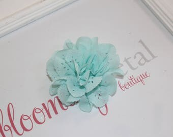 Aqua Eyelet Flower Hair Clips