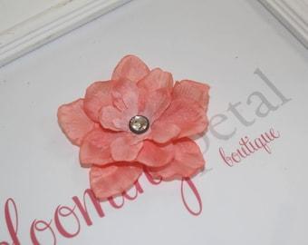 Coral Vintage Flower Clip