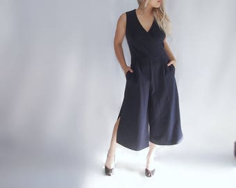 Culotte side slit navy romper / jumpsuit / jumper / pantsuit / onesie playsuit