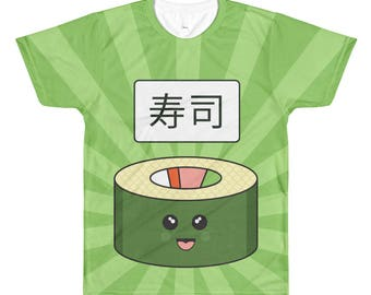 Sushi Happy Fun Time Foodie Mens/Unisex All-Over Print T-Shirt
