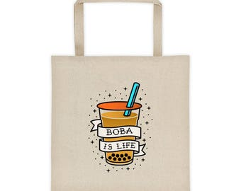 "Boba Tote ""Boba is Life"" Traditional Tattoo Style Tote bag"