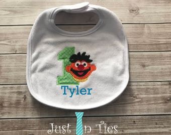 Ernie First Birthday Personalized Bib Sesame Street