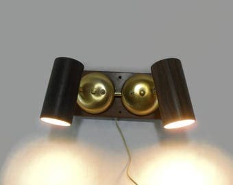 Vintage Wall Sconce * Mid Century Modern Lighting * Walnut and Brushed Brass * Adjustable Lamp