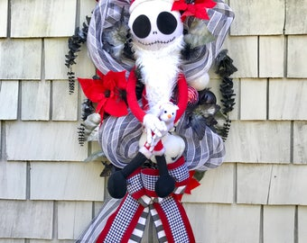 The Nightmare Before Christmas Wreath, Amazing XXL Jack Skellington Wreath, 4ft Tall, Zero Ghost Dog, Black and White Jack Skellington