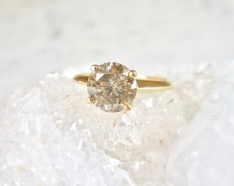 Champagne Diamond Ring - Champagne Salt and Pepper Diamond, Knife Edge, Conflict Free, Salt and Pepper Diamond Ring, 14kt Yellow Gold