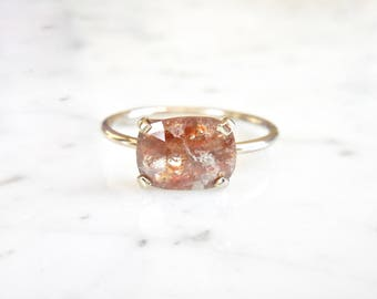 Rose Cut DiamondRing - Prong Set, 14 k White Gold, Rectangle Diamond, Rose Cut, Engagement, Handmade, Rough Diamond, Red/Brown Diamond