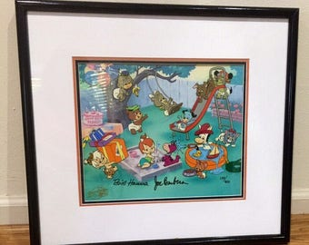 "Vintage Rare Flintstones ""Party for Pebbles"" Ltd. Edition Animation Cel Signed by Hanna-Barbera"