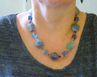 Fluorite Necklace - Large Faceted All Natural Blue & Green Striped Fluorite Gems
