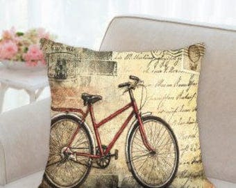 Bike Postcard Designer Pillow