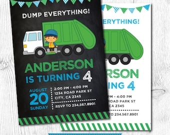 Garbage Truck Birthday, Trash Truck Invitation, Garbage Invitation, Recycle Birthday party, Garbage truck invite, DIGITAL, 2 Options