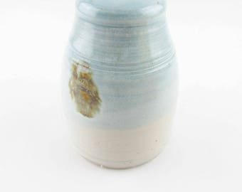 """Baby Blue Weedpot - Brown Splotches - Gloss Finish 4 1/4"""" Tall  - Shoulder and Small Mouth - Grey Stoneware Container - Signature"""