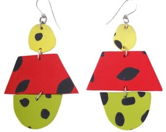 Polymerclay Statement Earrings/ Yellow/ Red/ Green/ Dangle Earrings/ Drop Earrings/ Abstract