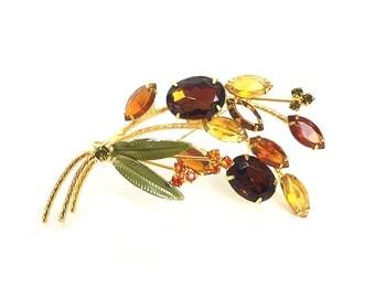 Vintage brooch, Leaf brooch, Fall brooch, autumn brooch, amber, teacher gift gold brooch, rhinestone brooch, orange brooch, brown brooch,