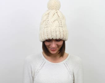 Cable Knit Pom-Pom Hat Chunky Wool Fold-Over Cuff   THE STOCKHOLM
