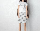 "White print shirt logo top ""bright"" for Fashion Royalty, FR2, Poppy Parker, NuFace, Barbie and other 12"" fashion dolls"