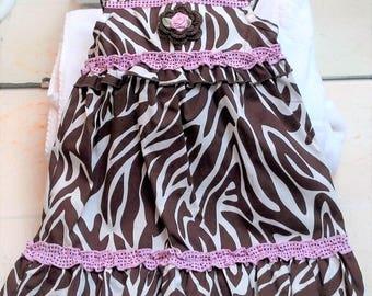 Infant Toddler Girls Brown Pink Zebra Dress Sundress - Handmade Irish Rose - Sizes 18 or 24 months