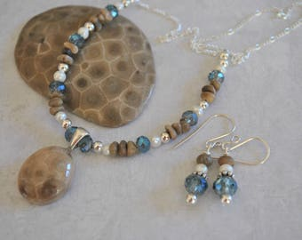 Petoskey Stone focal necklace set, crystals, pearls, sterling silver, Michigan necklace, Up North necklace