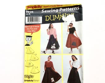 Simplicity 9926, Teen's Poodle Skirt Costume Pattern, 1950s Style, Waist Size 23-37, Halloween, Pageant, Cosplay, Uncut Pattern