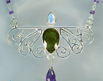 Artisan Silver Necklace Blue Moonstone, Moldavite & Amethyst Gemstones SN150