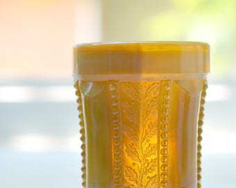 """Slag Glass Tumbler Holly Panel Beaded Butterscotch Color 4"""" (B)"""