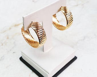Jackie Kennedy Gold Plated Hoop Earrings - 1 Pair with Box and Certificate