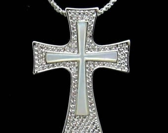 JBK Mother of Pearl Cross - Jackie Kennedy RP Cross Necklace with Box and Certificate