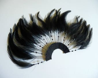 Black Hackle Feathers Fan Pinwheel Trim for Hats Fascinators Crafts Masks Costumes Millinery