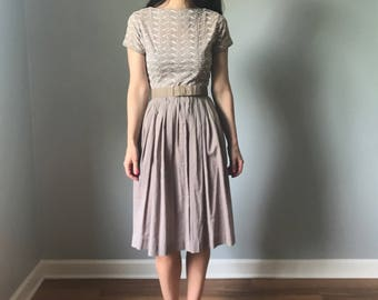 vintage 50s dress | 50s cotton shirt dress | embroidered cotton eyelet dress