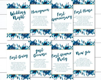 PRINTED, Navy Wedding Wine Tags, Milestone Wine Tags, Wine Tags for Bridal Shower, Year of Firsts Wine Tags, Gift Basket Bridal Shower