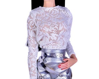 ELENPRIV ivory lace top for Sybarites on Gen X body dolls and similar body size dolls