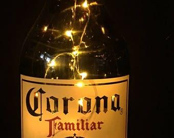 Corona Familiar Glass Bottle with Warm White LED String Lights